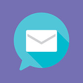 Vector illustration of an envelope in a teal speech bubble against a purple background in flat style.