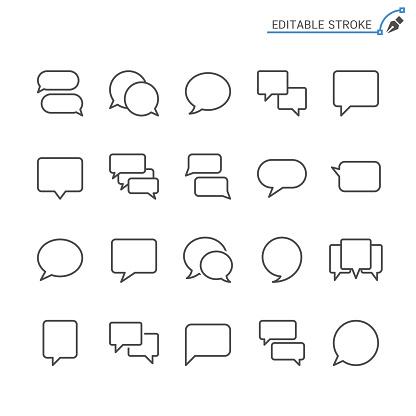 Speech Bubble Line Icons Editable Stroke Pixel Perfect - Stockowe grafiki wektorowe i więcej obrazów Balon