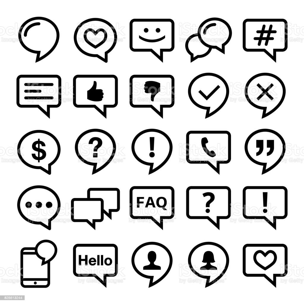 Speech bubble line icons set- comment, web, blog, contact vector design