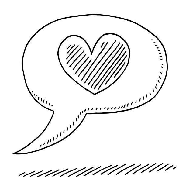Speech Bubble Love Heart Symbol Drawing Hand-drawn vector drawing of a Speech Bubble Love Heart Symbol. Black-and-White sketch on a transparent background (.eps-file). Included files are EPS (v10) and Hi-Res JPG. celebration stock illustrations