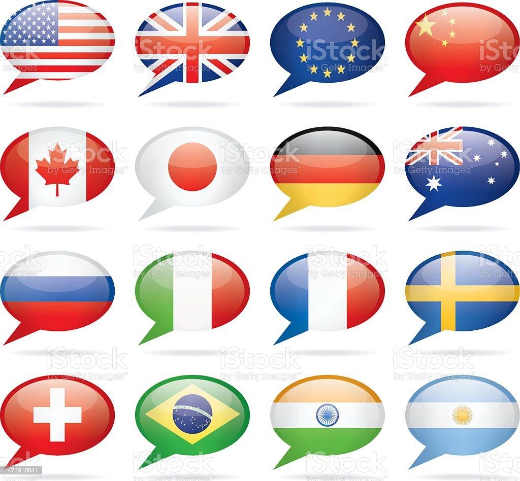 Speech Bubble Most Popular Flags royalty-free stock vector art