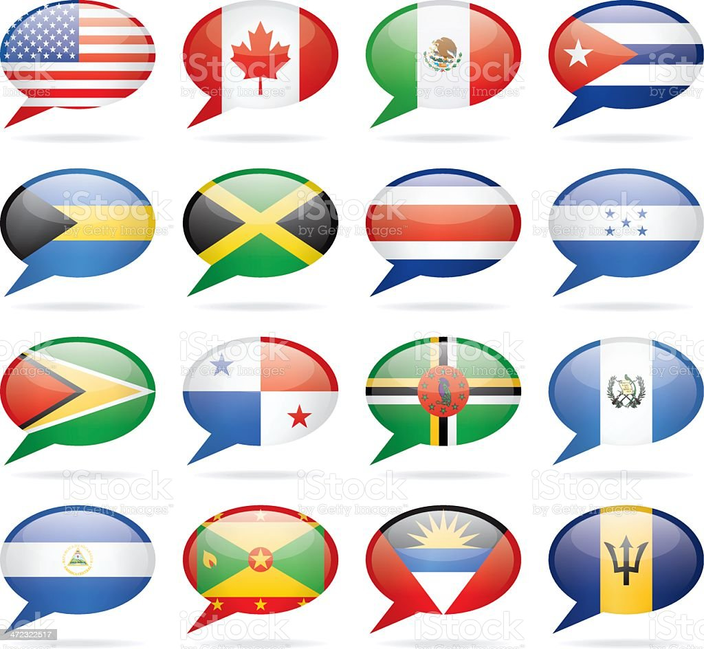 Speech Bubble North and Central America Flags royalty-free speech bubble north and central america flags stock vector art & more images of american flag