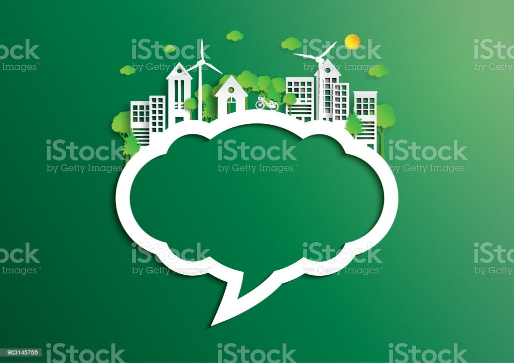 Speech bubble of green city of environment concept paper art style royalty-free speech bubble of green city of environment concept paper art style stock illustration - download image now