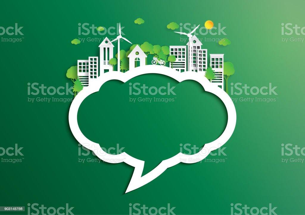 Balão da cidade verde, de estilo de arte de papel de conceito de ambiente - ilustração de arte em vetor