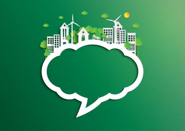 環境コンセプト ペーパー アート スタイルの緑豊かな街の吹き出し - 環境点のイラスト素材/クリップアート素材/マンガ素材/アイコン素材