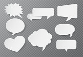 Speech bubble of paper For text input On a transparent background