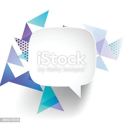 istock Speech Bubble on abstract geometric background 694013526