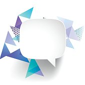 Speech Bubble on abstract geometric background