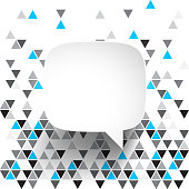 Speech Bubble isolated on an abstract geometric background. Modern background with gray and blue triangles.