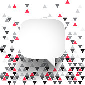 Speech Bubble isolated on an abstract geometric background. Modern background with gray and red triangles. Template for your design. With space for your text and your background. The layers are named to facilitate your customization. Vector Illustration (EPS10, well layered and grouped). Easy to edit, manipulate, resize or colorize. Please do not hesitate to contact me if you have any questions, or need to customise the illustration. http://www.istockphoto.com/portfolio/bgblue
