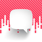 Speech Bubble isolated on irregular rounded lines halftone transition. Red (pink) and white abstract background. Speech Bubble template for your design. With space for your text and your background. The layers are named to facilitate your customization. Vector Illustration (EPS10, well layered and grouped). Easy to edit, manipulate, resize or colorize. Please do not hesitate to contact me if you have any questions, or need to customise the illustration. http://www.istockphoto.com/portfolio/bgblue