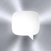Speech Bubble isolated on an metal texture background. Circular brushed metal texture.