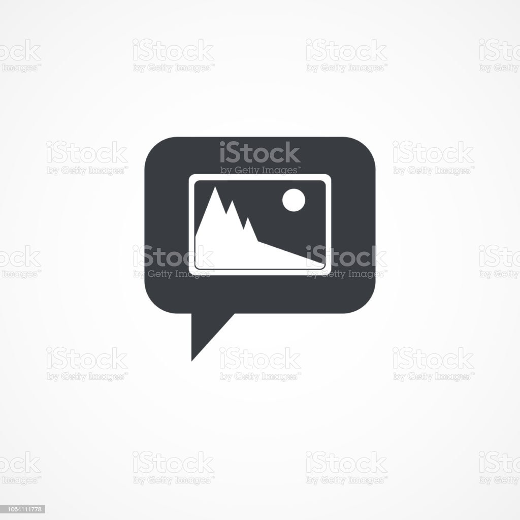 Speech Bubble Picture Icon In Flat Style Isolated On Gray