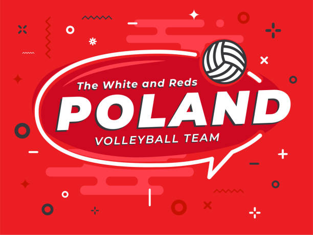 speech bubble poland with icon volleyball. vector illustration. - polish flag stock illustrations