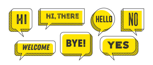 Speech Bubble. Set of 3d and 2d line speech bubble Speech Bubble. Set of 3d and 2d line speech bubble cloud talk with text Hallo, Goodbye, Ciao, Good Day. White speech bubble isolated cloud talk silhouette on yellow background. Vector Illustration excited stock illustrations