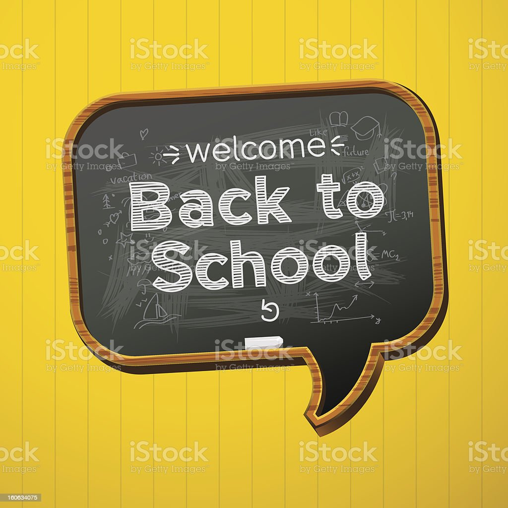 A speech bubble shaped blackboard saying 'back to school' vector art illustration