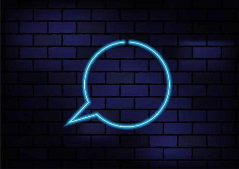 Speech Bubble Sign Blue Neon Light On Dark Brick Wall
