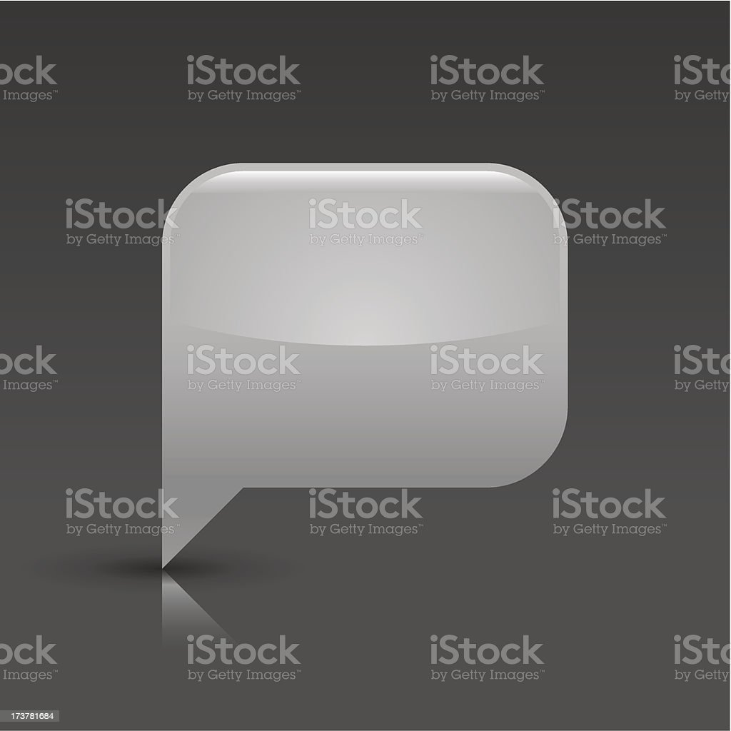 Speech bubble sign glossy icon rectangle pictogram gray background royalty-free stock vector art