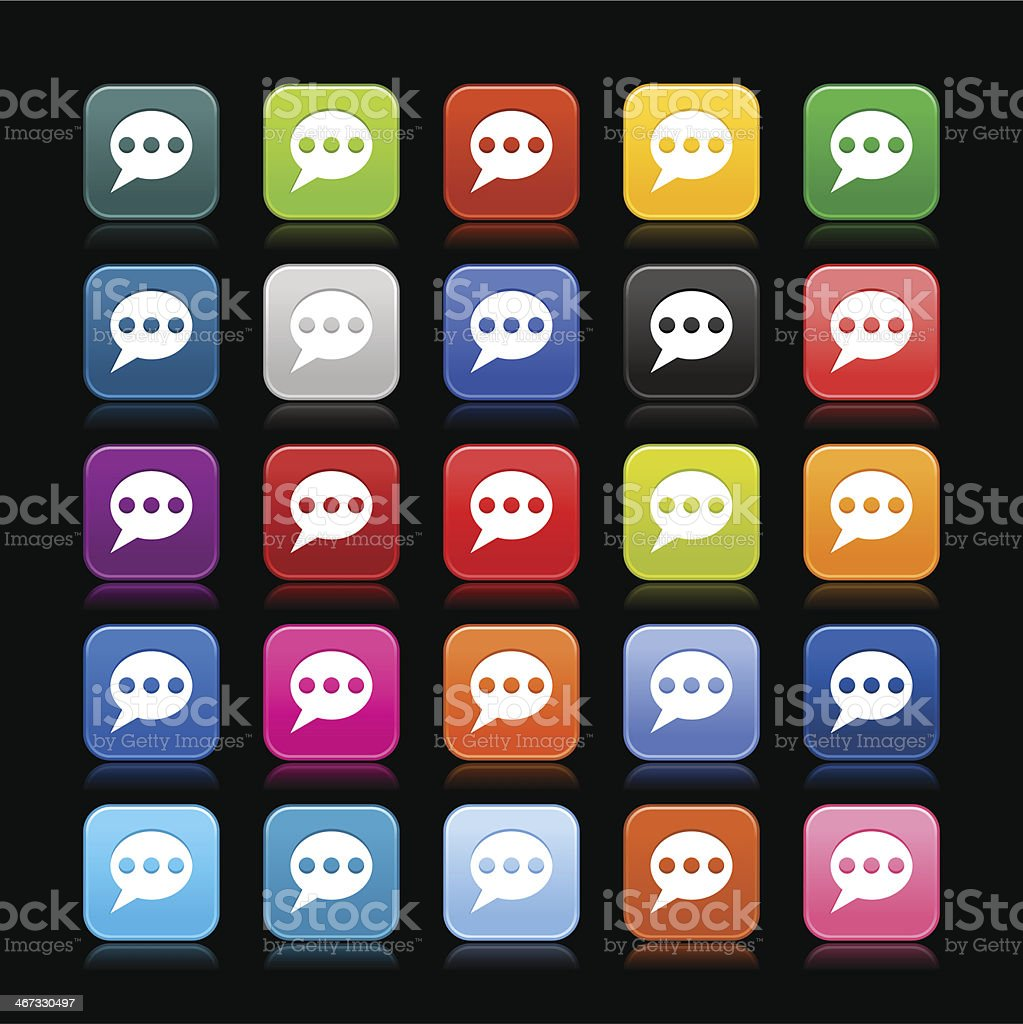 Speech bubble sign rounded square icon chat room button vector art illustration