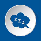 ZZZ speech bubble - simple blue icon on white button with shadow in front of blue square background