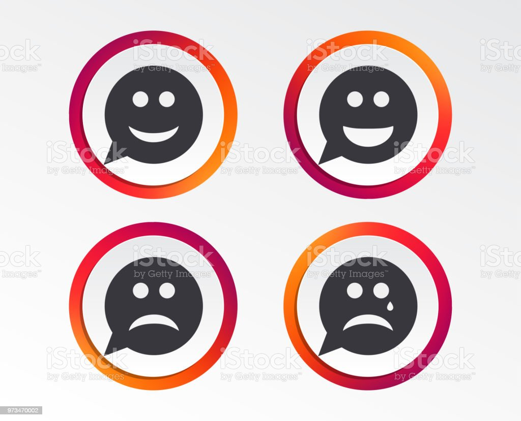 Speech Bubble Smile Face Icons Happy Sad Cry Stock Vector Art More