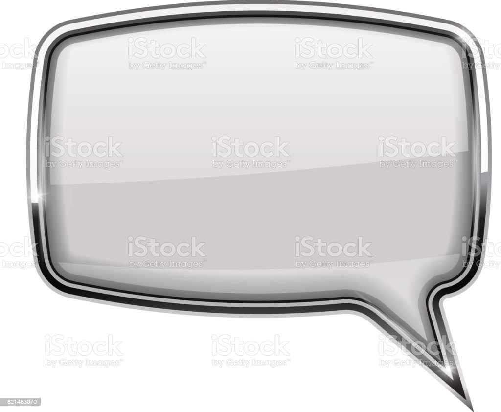 Speech Bubble Square White 3d Icon With Chrome Frame Stock Vector ...