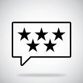 Vector illustration of a speech bubble with 5 stars against a grey background in flat style.