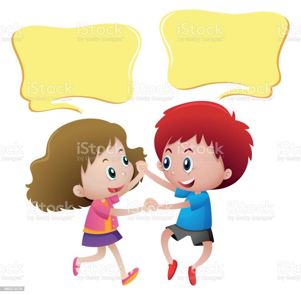 Konuşma Balonu şablon çocuk Dans Ile Stok Vektör Sanatı Animasyon