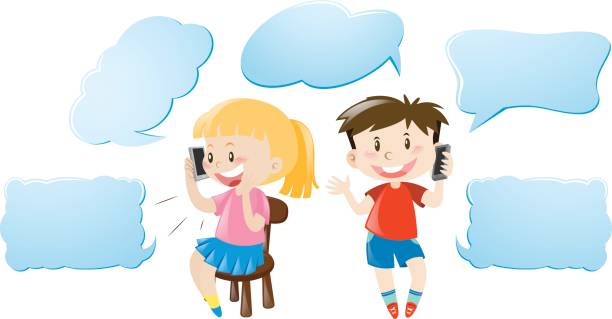 royalty free asian boy and girl with speech bubble clip art vector