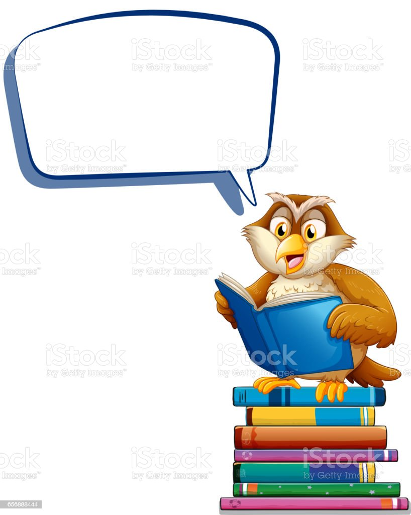 speech bubble template with owl reading books stock vector art
