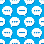 Vector illustration of speech bubbles in a repeating pattern against a blue background.