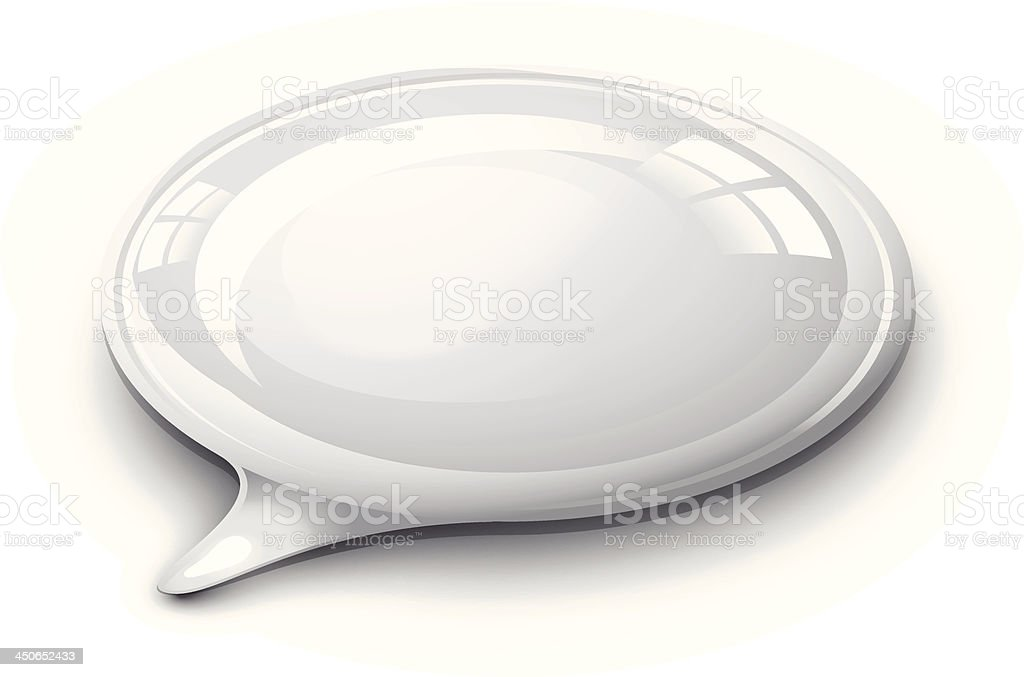 Speech bubble white and glossy royalty-free stock vector art