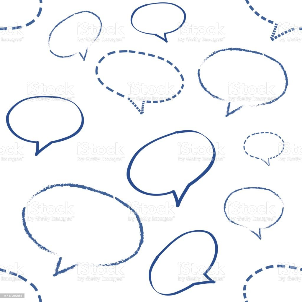 Speech Bubble White Doodle Wallpaper Seamless Pattern Retro Design ...