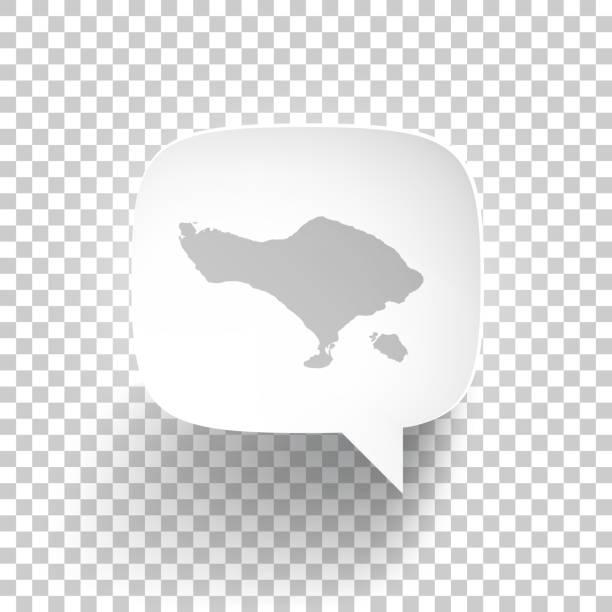 sprachblase mit bali-karte auf leerem hintergrund - denpasar stock-grafiken, -clipart, -cartoons und -symbole