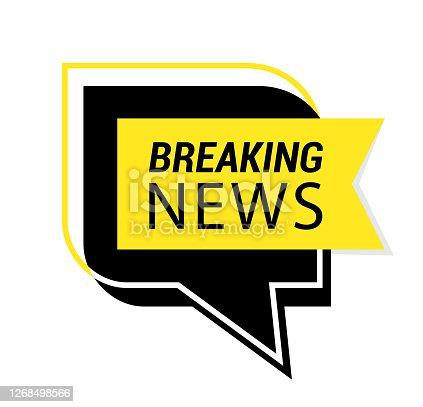 istock Speech Bubble with Breaking NEWS. 1268498566