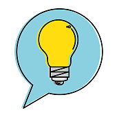 speech bubble with bulb light