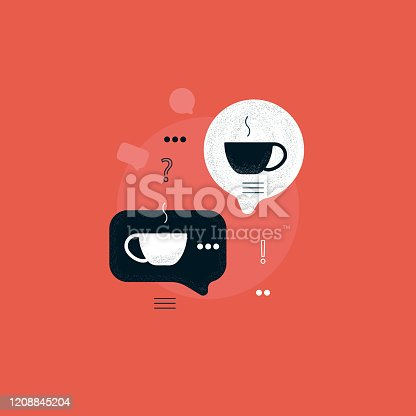 speech bubble with coffee cup, coffee break, discussion with hot drink, Communication with coffee concept