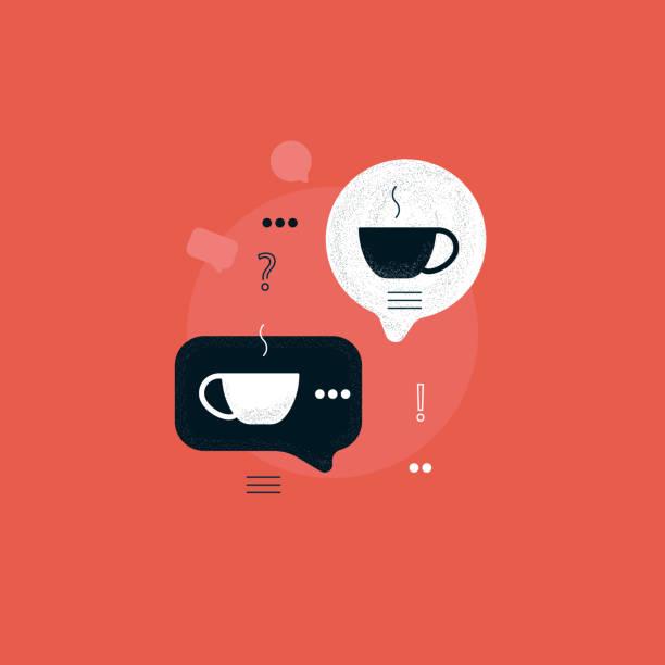 sprechblase mit kaffeetasse, kaffeepause, diskussion mit heißgetränk, kommunikation mit kaffeekonzept - cafe stock-grafiken, -clipart, -cartoons und -symbole