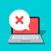 Speech bubble with cross on the laptop background. Error or rejection icon. Negative answer. Flat vector illustration isolated on color background