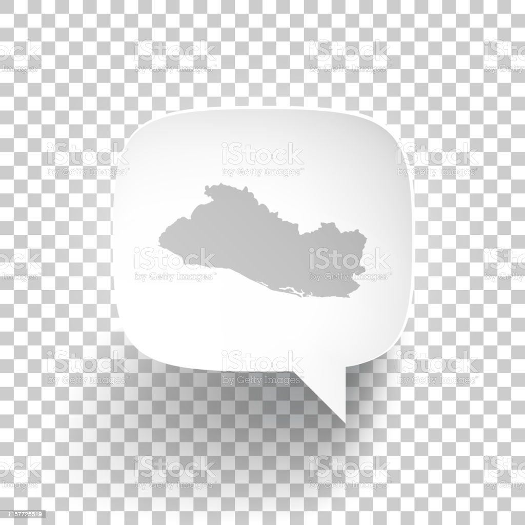 Speech Bubble With El Salvador Map On Blank Background Stock ...