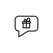 Speech bubble with gift box line icon. Birthday, surprise, bonus. Gift concept. Vector illustration can be used for topics like shopping, holiday, sale