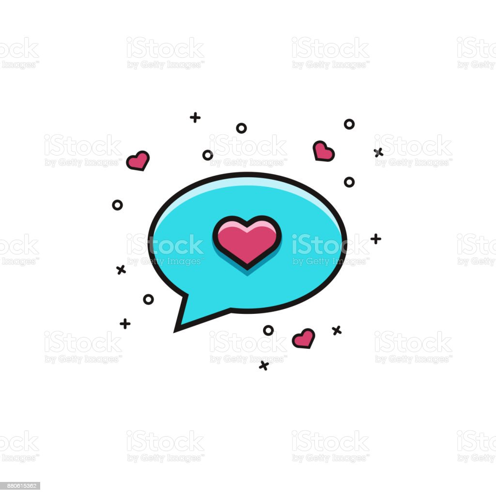 Speech bubble with heart flat color line icon comic balloon for speech bubble with heart flat color line icon comic balloon for messaging texting or buycottarizona
