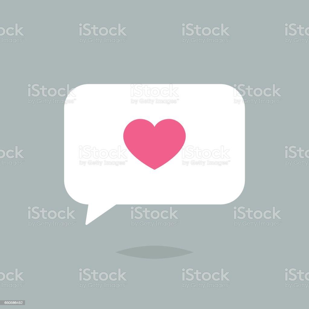 Bolha do discurso com vetor de ícone de coração - ilustração de arte em vetor