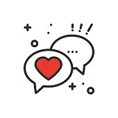 Speech bubble with heart line icon. Conversation chat dialog message. Happy Valentine day sign and symbol. Love couple relationship wedding holiday romantic amour theme.