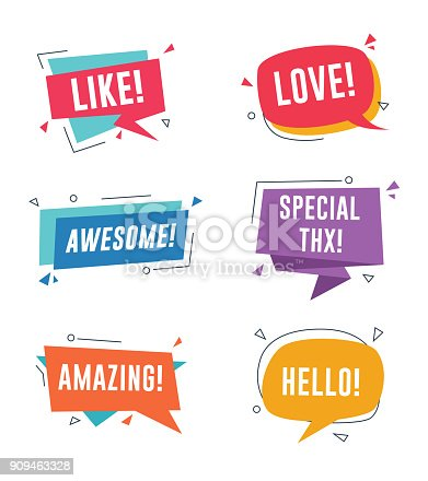 Speech bubble with short messages. Like, love, awesome, amazing, special thanks