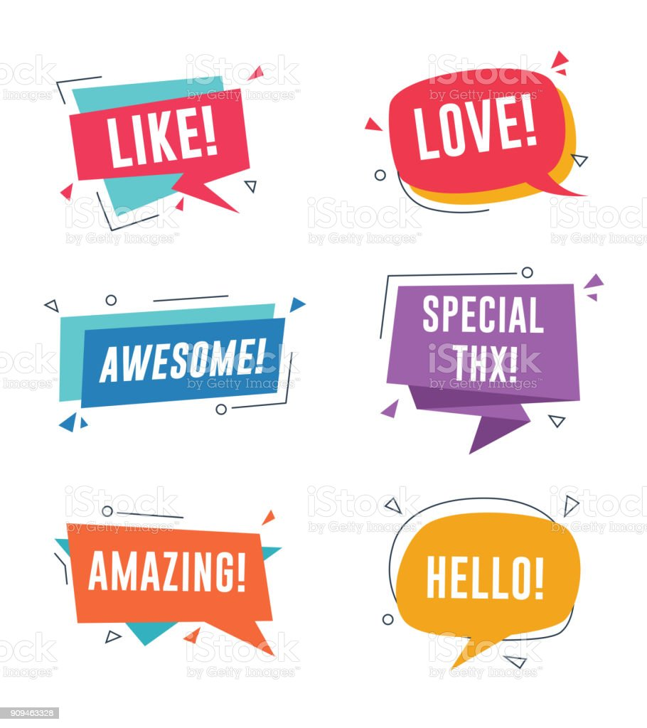 Speech bubble with short messages. Like, love, awesome, amazing, special thanks vector art illustration