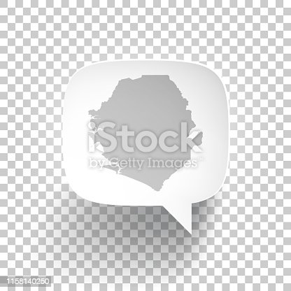 Map of Sierra Leone in a speech bubble with a realistic three-dimensional effect, isolated on a white background. Vector Illustration (EPS10, well layered and grouped). Easy to edit, manipulate, resize or colorize.