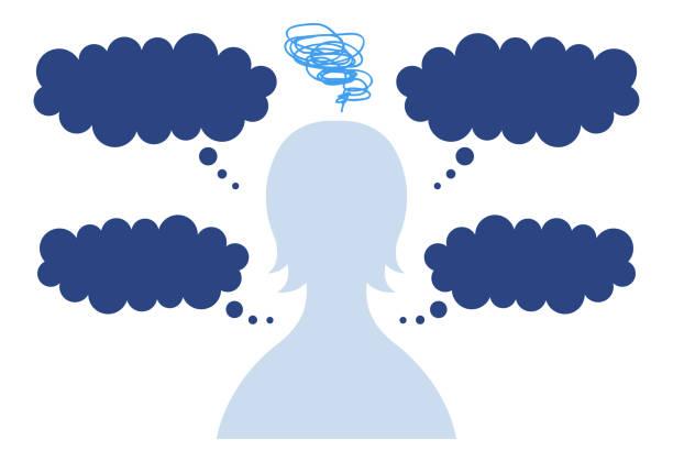 困っている不安な女性のシルエットを持つスピーチバブル ベクターアートイラスト