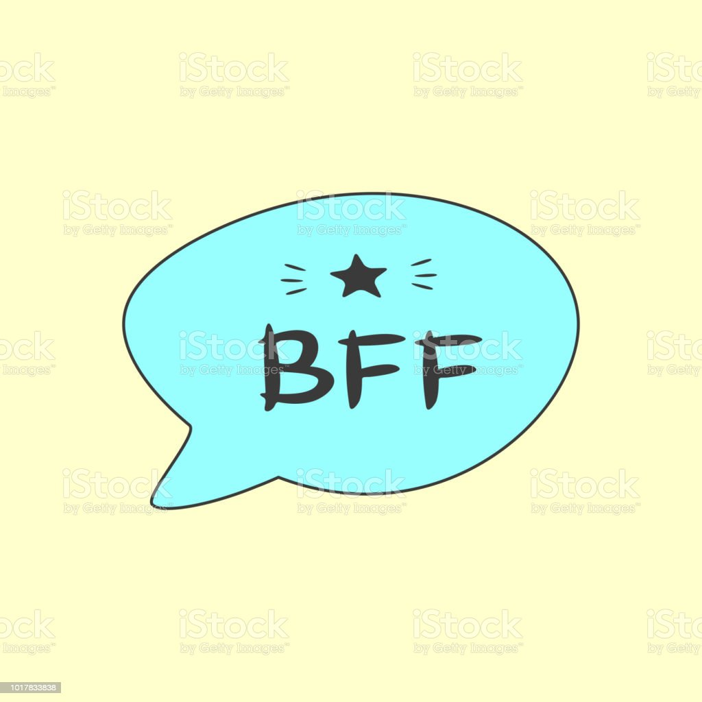 Speech bubble with text BFF. Print, card, poster, sticker for best friends. Yellow, blue, black. vector art illustration