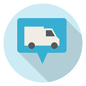 Logistics icon in thin line style with flat color. Easy to edit. — Speech Bubble With Truck